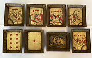 8 Eight Antique Chinese Gaming Card Trays W/ Vibrant Details