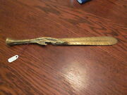 Antique Victorian Brass Letter Opener/page Turner W/ Feather And Claw