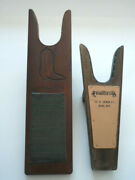 Parkerand039s Western Wear Wood Leather Boot Jack Shoe Remover Reno Nevada Lot Of 2