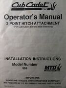 Cub Cadet Lawn Garden Tractor 3000 Series Model 365 3 Point Hitch Owners Manual