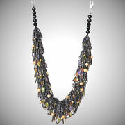 Green Garnet, Amethyst, Freshwater Pearls Necklace With Metalic Color Seed Beads