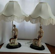 Exquisite Pair Vintage Ok Collection Turn Of The Century Lady With Dog Lamps