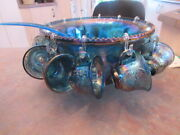25 Punch Bowl Blue 12 Cup Holds 7 Quarts Liquid Stands Approx. 7-1/4 High