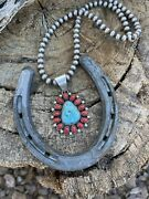 Navajo Sterling Kingman Web Turquoise And Red Coral Taos Pendant Kathleen Chavez