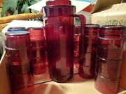 Deluxe Tupperware Ruby Red Acrylic Pitcher And 20 Short And Tall Glasses Excond