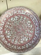 Vintage Rare Ethan Allen Ceramic Persian Pink Rose Charger Wall Plate Platter