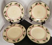 Home Victorian Holly Christmas Dinner Plate S Lot Of 4 Dinnerware Red Berry