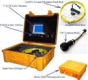 """Sewer Drain Pipe Cleaner 7"""" Lcd 130f 1/4 Cable 1 Inspection Snake Video Camera"""