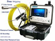 Sewer Drain Pipe 1 Waterproof Inspection Camera 130ft/40m Cable 7 Lcd Usb Sd