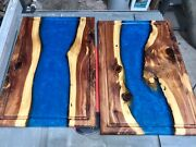 Flowing River Cutting Board 18x12 Inch Cedar And Blue Resin W/juice Grooves