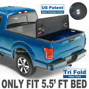 3-fold 5.5ft Truck Bed Tonneau Cover For 2015-20 Ford F150 Us Patent 14mm Thick