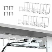 2 Packs Cable Management Tray, 16 Inches Under Desk Cable Organizer For Wire Man