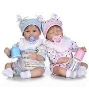 17and039and039 Twins So Cute Reborn Boy And Girl W Pacifiers/bottles Preemie Dolls 2pcs