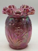Gorgeous Fenton Purple Carnival Glass Vase With Daffodils