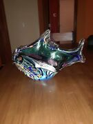 Rollin Karg Art Glass Dichroic Fish Paperweight Sculpture Signed Excellent 13in