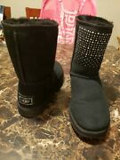 Rare Euc Womenand039s Ugg Black Short Classic Bling Crystals Size 8