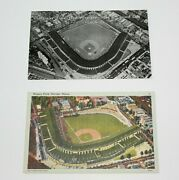 Postcard 2 Wrigley Field Home Of Chicago Cubs Chicago Ill Linen And Rppc