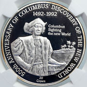 1991 Turks And Caicos Columbus Exploration Old Silver 20 Crown Coin Ngc I89098