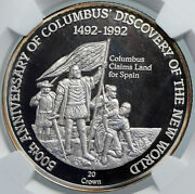 1991 Turks And Caicos Columbus Exploration Old Silver 20 Crown Coin Ngc I89099