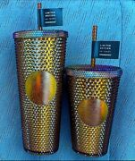 Starbucks 50th Anniversary 16oz And 24oz Set Studded Tumbler Gold/copper In Hand