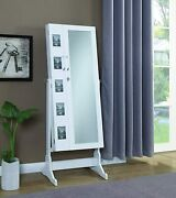 Coaster Free Standing Jewelry Storage Cheval Mirror With Picture Frames White