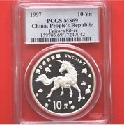 1997 China Peoples Republic Unicorn 1oz Silver 10 Yuan Coin Graded Coin