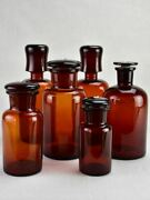 Collection Of Six Amber Pharmacy Jars With Lids - 19th Century
