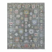 8and0392x10and039 Dark Gray Angora Oushak With Floral Motifs Wool Hand Knotted Rug R56481