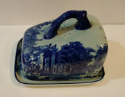 Blue Ironstone Covered Cheese Or Butter Victoria Ware Flow Blue Style Mg
