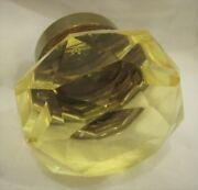 Yellow Crystal Door Knob Faceted Glass 2 Antique Vintage Brass Mount Rare