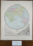 Vintage 1900 Eastern Hemisphere Map 11x14 Old Antique Original Asia Africa
