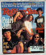 Pearl Jam Signed Rolling Stone Magazine Eddie Vedder + Jeff And Mike W/ Beckett