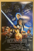 Star Wars Return Of The Jedi Movie Poster Signed By 10. Mark Hamill Mayhew