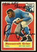 1956 Topps Roosevelt Grier Autographed Rookie Card 101 W/ 1956 Nfl Champion
