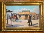 Lg Vintage Oil Painting-stagecoach/cowboys/horses-listed Artist-western Art