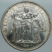 1965 France Large Hercules Motto Vintage Old Silver 10 Francs French Coin I88969