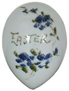 Antique Victorian Hand Blown Milk Glass Easter Egg Periwinkle Blue Flowers 4.25
