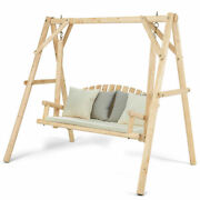 Wooden Porch Swing Outdoor Patio Rustic Torched Log Curved Back Bench A-frame