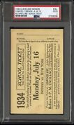 Babe Ruth 2 Rbi And Hit 1934 Ticket Stub Babe Ruth And Lou Gehrig🔥pop 1 Of 1🔥psa 2