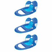Swimways Spring Float Recliner Pool Lounge Chair W/ Sun Canopy, Blue 3 Pack