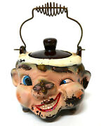 Vtg. Tilso Ceramic Bumble Bee On Nose Honey Pot Japan Spiral Wire Handle And Top