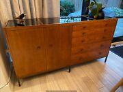 Baker Furniture Sideboard. In Excellent Condition. Cherry Wood With Black Glassandnbsp