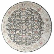 13and0395x13and0395 Black Peshawar Heriz Lustrous Wool Hand Knotted Round Rug R67185