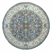 9and0398x9and0398 Gray Peshawar With Heriz Handspun Wool Hand Knotted Round Rug R67190