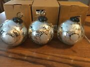 Pottery Barn Mercury Glass Etched Ornament Set Of 3 Holiday Decor Sold Out New