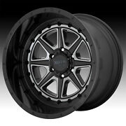 Set/4 Moto Metal Mo801 Phantom Black Milled Gtc 24x12 8x6.5 -44mm Mo80124280444n