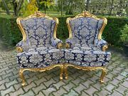 French Louis Vxi Easy Chairs In Blue Damask - Worldwide Shipping