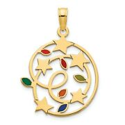 Real 14k Yellow Gold Epoxy Christmas Lights And Stars Pendantwomen And Men
