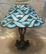 Partylite Spring Water Candle Lamptiffany Style Stained Glass Shade P7952