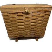 1992 Longaberger Magazine Or Picnic Basket W/ Handle Footed Stamped / Initialed